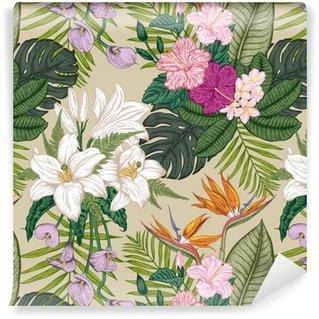 Vinyl behang, op maat gemaakt Naadloze patroon met tropica bloemen. vectorillustratie