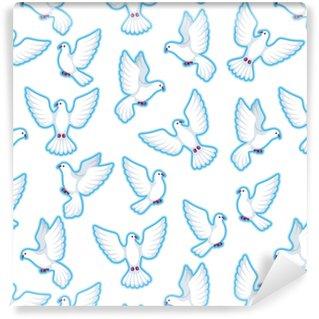 Vinyl behang, op maat gemaakt Naadloze patroon met witte duiven. mooi duivengeloof en liefdesymbool