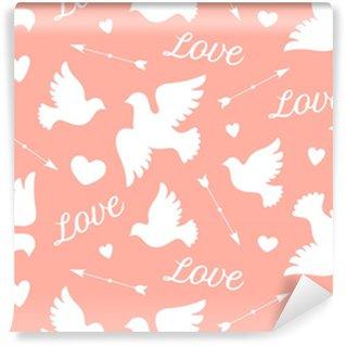 Vinyl behang, op maat gemaakt Naadloze patroon met witte liefde duiven, harten, pijlen en tekst liefde. symbool en teken van liefde op roze achtergrond. grafisch ontwerp inpakpapier voor valentijn dag. vectorillustratie