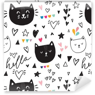 Vinyl behang, op maat gemaakt Naadloze patroon met zwarte schattige kitty