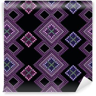 Vinyl behang, op maat gemaakt Naadloze patroon moderne textuur abstracte achtergrond met kralen