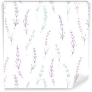 Vinyl behang, op maat gemaakt Naadloze patroon van lavendel bloemen op een witte achtergrond. waterverfpatroon met lavendel voor verpakking. vectorillustratie