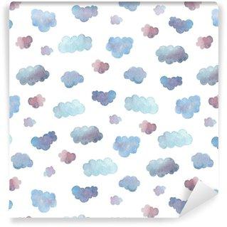 Vinyl behang, op maat gemaakt Naadloze patroon van zachte blauwe wolken geschilderd in aquarel.