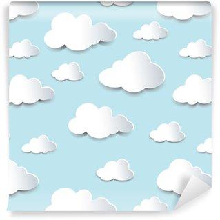 Vinyl behang, op maat gemaakt Naadloze uitsparingen wolken