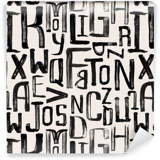 Vinyl behang, op maat gemaakt Naadloze vintage stijl patroon, ongelijke grunge letters van willekeurige