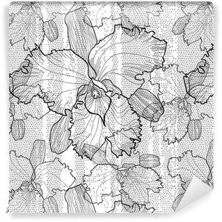 Vinyl behang, op maat gemaakt Naadloze zwart-wit vector patroon van orchideeën