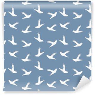 Vinyl behang, op maat gemaakt Origami duif vogel naadloze patroon op blauwe achtergrond. Japans vectorornament. eindeloze textuur kan worden gebruikt voor behang, webpagina-achtergrond, oppervlak, textieldruk ..