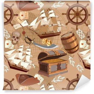 Vinyl behang, op maat gemaakt Oude piraat schatkaart naadloze patroon, avontuur verhalen concept. schatkist, stuurwiel, schedel, piratenhoed van piratenschip. piraat avontuur verhalen naadloze achtergrond