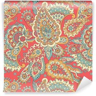 Vinyl behang, op maat gemaakt Paisley etnisch bloemenornament. folkloristische vector naadloze patroon