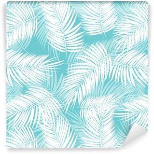 Vinyl behang, op maat gemaakt Palm blad vector naadloze patroon achtergrond afbeelding