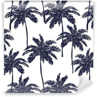 Vinyl behang, op maat gemaakt Palmbomen silhouet op de witte achtergrond. Vector naadloze patroon met tropische planten.