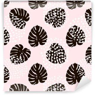 Vinyl behang, op maat gemaakt Palmtak trendy naadloze patroon met hand getrokken elementen. monstera blad achtergrond. geweldig voor stof, textiel vectorillustratie