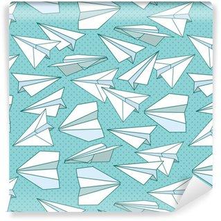 Vinyl behang, op maat gemaakt Papier vliegtuigen naadloze textuur