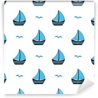 Vinyl behang, op maat gemaakt Patroon met boot en meeuw