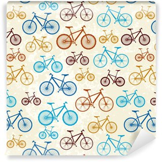 Vinyl behang, op maat gemaakt Patroon van fietsen