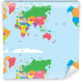 Vinyl behang, op maat gemaakt Politieke kaart van de wereld vector