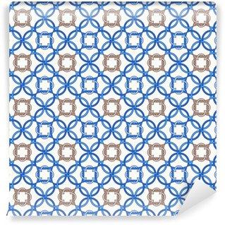 Vinyl behang, op maat gemaakt Portugese tegels, vierpas naadloze patroon. vectorillustratie