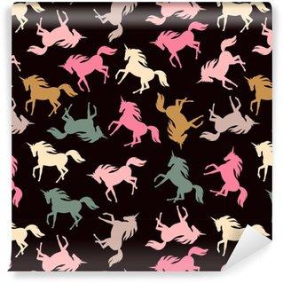Vinyl behang, op maat gemaakt Realistische eenhoorn silhouet naadloze patroon.