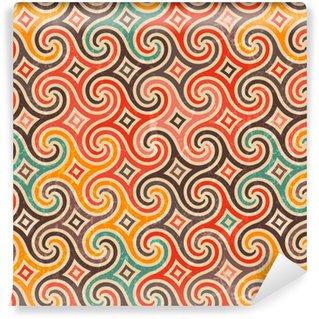 Vinyl behang, op maat gemaakt Retro patroon met wervelingen.