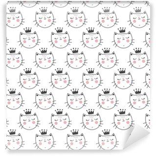 Vinyl behang, op maat gemaakt Schattig kattenpatroon