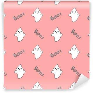 Vinyl behang, op maat gemaakt Schattig wit cartoon ghost op roze achtergrond naadloze vector patroon illustratie