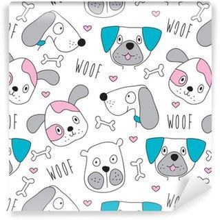 Vinyl behang, op maat gemaakt Seamless dog pattern - vector illustratie