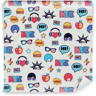 Vinyl behang, op maat gemaakt Trendy pop-art naadloos Amerikaans patroon met flarden en stickers