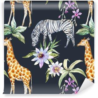 Vinyl behang, op maat gemaakt Tropisch dierenpatroon