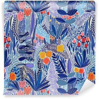 Vinyl behang, op maat gemaakt Tropische naadloos bloemenpatroon