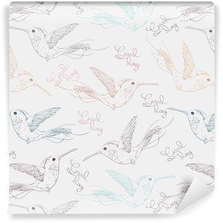Vinyl behang, op maat gemaakt Tropische veelkleurige vogels colibries en belettering goede dag naadloze patroon. hand getrokken vectorillustratie.