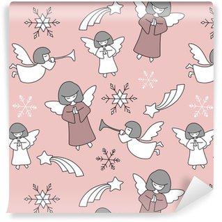 Vinyl behang, op maat gemaakt Vector naadloos Kerstmispatroon met engelen, Kerstmissterren en sneeuwvlokken