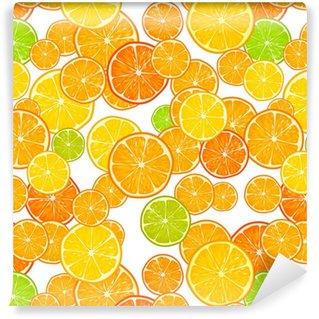 Vinyl behang, op maat gemaakt Vector naadloze patroon met citrus.