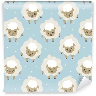 Vinyl behang, op maat gemaakt Vector sheeps voor het slapen naadloze patroon