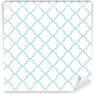 Vinyl behang, op maat gemaakt Vierpasbaans klassiek net naadloos vectorpatroon. blauw en wit traditioneel Marokkaans eenvoudig ruitornament.