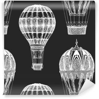 Vinyl behang, op maat gemaakt Vintage ballon vector afbeelding op blackboard krijt illustratie naadloze vector patroon met hete luchtballon ballon festival