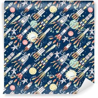 Vinyl behang, op maat gemaakt Voorbeeld opslaan in een lightbox dezelfde afbeeldingen vinden stock delen vectorillustratie: hand getrokken cartoon ruimte naadloze patroon. raketten, ruimtevaarders, planeten en sterren