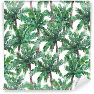 Vinyl behang, op maat gemaakt Waterverf exotisch naadloos patroon, groene tropische boom