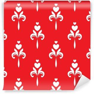Vinyl behang, op maat gemaakt Witte hartornamenten op rode achtergrond