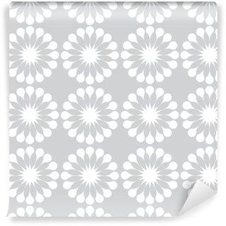 Vinyl behang, op maat gemaakt Witte paardebloemen bloemen naadloze patroon