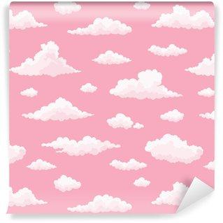 Vinyl behang, op maat gemaakt Wolk vector naadloos patroon. witte, roze wolken op roze zonsonderganghemel. herhaal print.