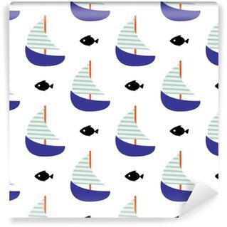 Vinyl behang, op maat gemaakt Zeilboot en vis naadloze kind vector patroon in blauwe kleuren.