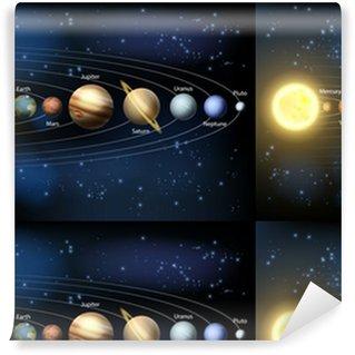 Vinyl behang, op maat gemaakt Zon en de planeten van het zonnestelsel