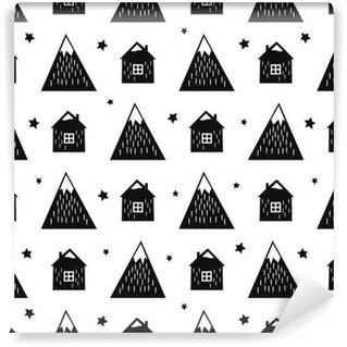 Vinyl behang, op maat gemaakt Zwart en wit nordic bergen, huizen en sterren. Naadloos patroon met geometrische besneeuwde bergen en huizen. Eenvoudige Scandinavische natuur illustratie. Vector bergen achtergrond.