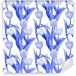 Vinyl behang, op maat gemaakt Zwart-wit naadloze textuur met blauwe tulpen voor uw ontwerp. aquarel schilderij