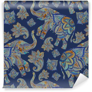 Carta da Parati a Motivi in Vinile Acquerello elefante etnico con elementi paisley sfondo.