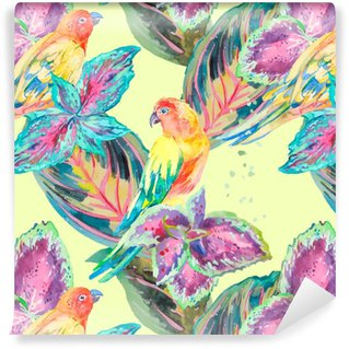 Carta da Parati a Motivi in Vinile Acquerello pappagalli .Tropical fiori e foglie. Esotico.