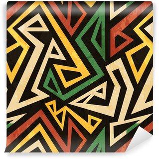 Carta da parati in vinile su misura African disegno geometrico senza soluzione di continuità con effetto grunge