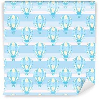 Baby shower seamless con carina mongolfiera blu su sfondo strisce adatto per baby shower carta da parati, tessuto e carta di scarto