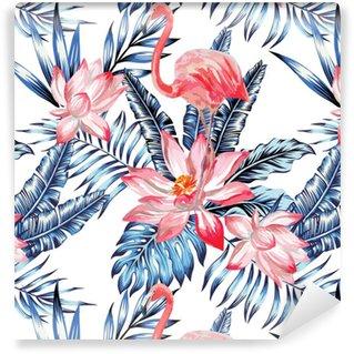 Modello di fenicottero rosa e foglie di palma blu