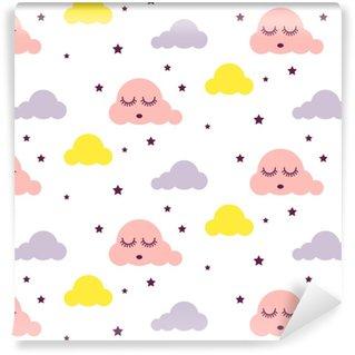 Modello di vettore del bambino senza giunte da ragazzina nuvole assonnate. sfondo rosa, giallo e bianco. ornamento scandinavo del fumetto del tessuto di stile sveglio del bambino.